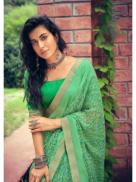Green Colour Floral Print Chiffon Saree-1