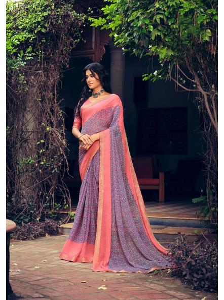 Purple Colour Floral Print Chiffon Saree-10865200