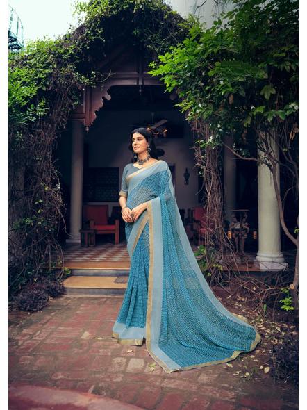 Sky Blue Colour Floral Print Chiffon Saree-10865206
