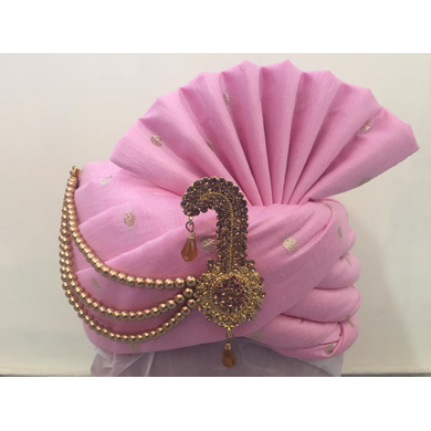 S H A H I T A J Traditional Rajasthani Wedding Pink Silk Groom or Dulha Pagdi Safa or Turban for Kids or Adults (RT464)-ST12_18