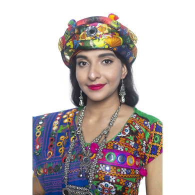 S H A H I T A J Satin Kathiyawadi Navratri or Gujarati Safa Pagdi Turban Multi-Colored for Kids and Adults (RT420)-ST43_23