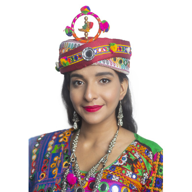 S H A H I T A J Cotton Kathiyawadi Navratri or Gujarati Safa Pagdi Turban Multi-Colored for Kids and Adults (RT421)-ST44_18andHalf