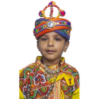 S H A H I T A J Cotton Kathiyawadi Navratri or Gujarati Safa Pagdi Turban Multi-Colored for Kids and Adults (RT424)-ST47_19andHalf