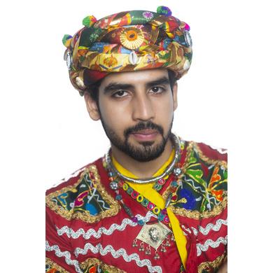 S H A H I T A J Satin Kathiyawadi Navratri or Gujarati Safa Pagdi Turban Multi-Colored for Kids and Adults (RT425)-ST48_22andHalf