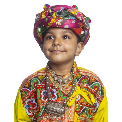 S H A H I T A J Satin Kathiyawadi Navratri or Gujarati Safa Pagdi Turban Multi-Colored for Kids and Adults (RT426)-ST49_22andHalf
