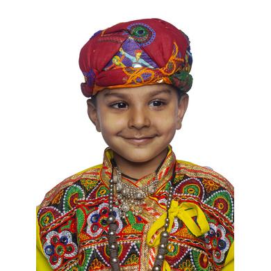 S H A H I T A J Cotton Kathiyawadi Navratri or Gujarati Safa Pagdi Turban Multi-Colored for Kids and Adults (RT428)-ST51_23andHalf