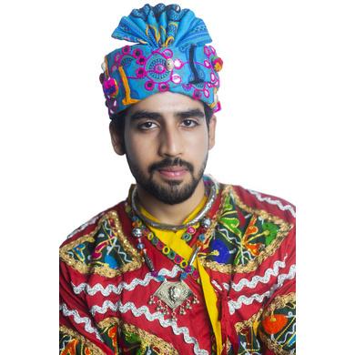 S H A H I T A J Cotton Kathiyawadi Navratri or Gujarati Safa Pagdi Turban Multi-Colored for Kids and Adults (RT429)-ST52_21andHalf