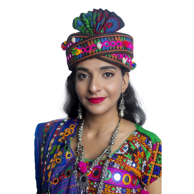 S H A H I T A J Cotton Kathiyawadi Navratri or Gujarati Safa Pagdi Turban Multi-Colored for Kids and Adults (RT430)-ST53_19andHalf
