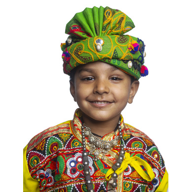 S H A H I T A J Cotton Kathiyawadi Navratri or Gujarati Safa Pagdi Turban Multi-Colored for Kids and Adults (RT431)-ST54_23andHalf