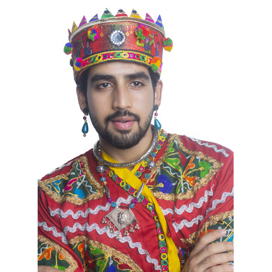 S H A H I T A J Satin Kathiyawadi Navratri or Gujarati Safa Pagdi Turban Multi-Colored for Kids and Adults (RT435)-18-3