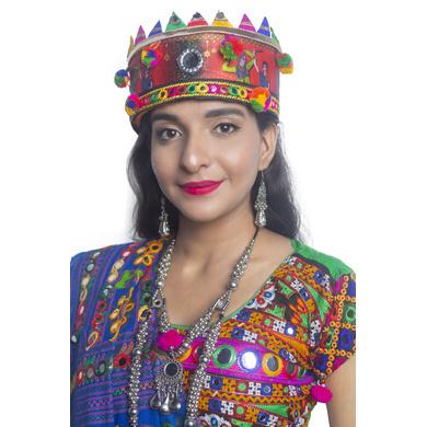 S H A H I T A J Satin Kathiyawadi Navratri or Gujarati Safa Pagdi Turban Multi-Colored for Kids and Adults (RT435)-ST58_18