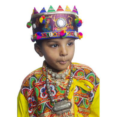 S H A H I T A J Satin Kathiyawadi Navratri or Gujarati Safa Pagdi Turban Multi-Colored for Kids and Adults (RT436)-18-3