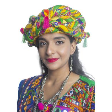 S H A H I T A J Cotton Kathiyawadi Navratri or Gujarati Safa Pagdi Turban Multi-Colored for Kids and Adults (RT438)-ST61_18andHalf