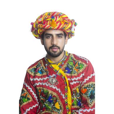 S H A H I T A J Cotton Kathiyawadi Navratri or Gujarati Safa Pagdi Turban Multi-Colored for Kids and Adults (RT439)-ST62_18andHalf