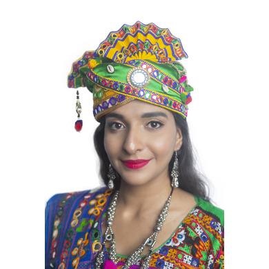 S H A H I T A J Cotton Kathiyawadi Navratri or Gujarati Safa Pagdi Turban Multi-Colored for Kids and Adults (RT440)-ST63_22andHalf