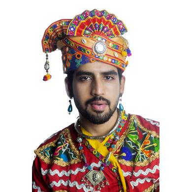 S H A H I T A J Cotton Kathiyawadi Navratri or Gujarati Safa Pagdi Turban Multi-Colored for Kids and Adults (RT441)-ST64_18andHalf