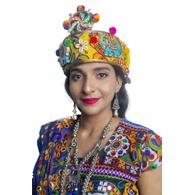 S H A H I T A J Cotton LED Kathiyawadi Navratri or Gujarati Safa Pagdi Turban Multi-Colored for Kids and Adults (RT25)