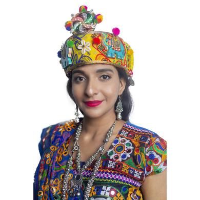 S H A H I T A J Cotton LED Kathiyawadi Navratri or Gujarati Safa Pagdi Turban Multi-Colored for Kids and Adults (RT25)-ST66_19