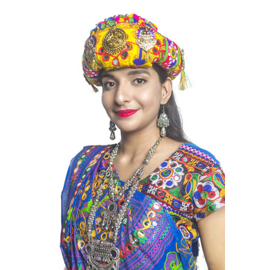 S H A H I T A J Cotton Kathiyawadi Navratri or Gujarati Safa Pagdi Turban Multi-Colored for Kids and Adults (RT28)-ST69_21andHalf