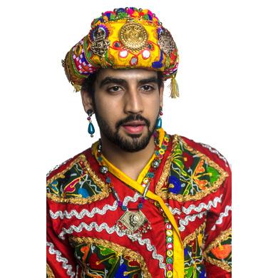 S H A H I T A J Cotton Kathiyawadi Navratri or Gujarati Safa Pagdi Turban Multi-Colored for Kids and Adults (RT28)-18-3