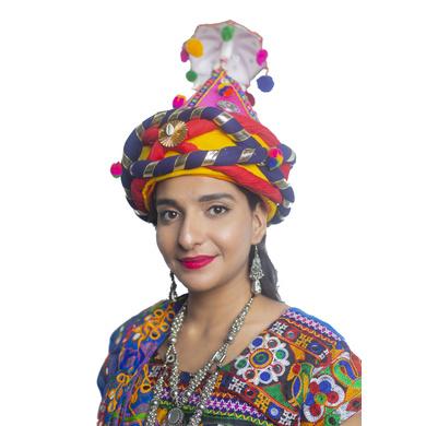 S H A H I T A J Cotton LED Kathiyawadi Navratri or Gujarati Safa Pagdi Turban Multi-Colored for Kids and Adults (RT31)-18-3