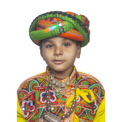 S H A H I T A J Cotton LED Kathiyawadi Navratri or Gujarati Safa Pagdi Turban Multi-Colored for Kids and Adults (RT33)-ST74_18