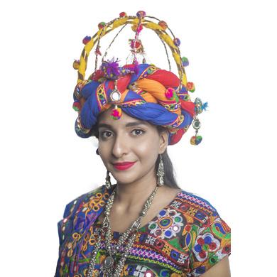 S H A H I T A J Cotton Kathiyawadi Navratri or Gujarati Safa Pagdi Turban Multi-Colored for Kids and Adults (RT34)-18-3