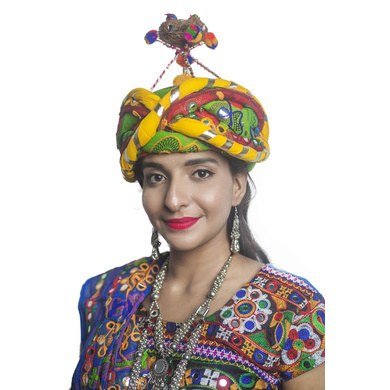 S H A H I T A J Cotton Kathiyawadi Navratri or Gujarati Safa Pagdi Turban Multi-Colored for Kids and Adults (RT35)-ST76_18andHalf