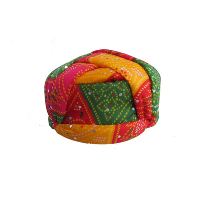 S H A H I T A J Traditional Rajasthani Jaipuri Multi-Colored Adjustable Gol Holi Pagdi Safa or Turban for Kids and Adults (RT419)-ST78_22andHalf