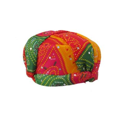 S H A H I T A J Traditional Rajasthani Jaipuri Multi-Colored Adjustable Gol Holi Pagdi Safa or Turban for Kids and Adults (RT419)-18-4