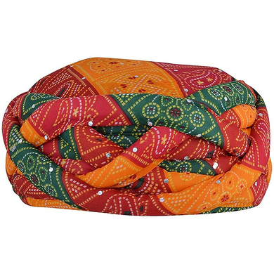 S H A H I T A J Traditional Rajasthani Synthetic Adjustable Vantma or Barmeri Holi Pagdi Safa or Turban Multi-Colored for Kids and Adults (RT418)-ST79_21
