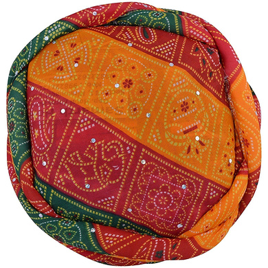 S H A H I T A J Traditional Rajasthani Synthetic Adjustable Vantma or Barmeri Holi Pagdi Safa or Turban Multi-Colored for Kids and Adults (RT418)-18-3