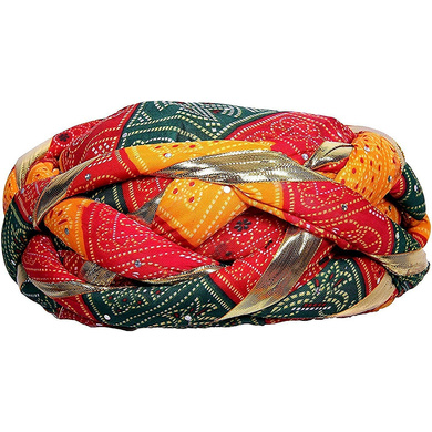 S H A H I T A J Traditional Rajasthani Synthetic Adjustable Vantma or Barmeri Holi Pagdi Safa or Turban Multi-Colored for Kids and Adults (RT02)-ST80_20andHalf
