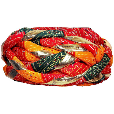 S H A H I T A J Traditional Rajasthani Synthetic Adjustable Vantma or Barmeri Holi Pagdi Safa or Turban Multi-Colored for Kids and Adults (RT02)-18-4