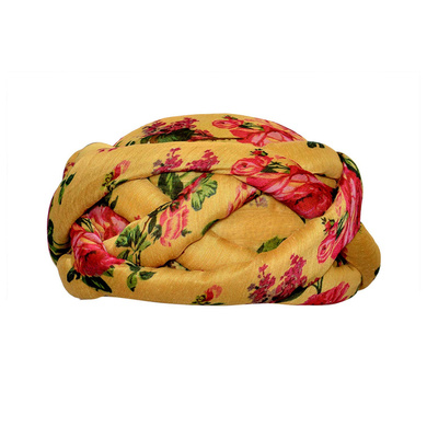 S H A H I T A J Traditional Rajasthani Faux Silk Floral Adjustable Vantma or Barmeri Pagdi Safa or Turban Multi-Colored for Kids and Adults (RT13)-ST91_22andHalf