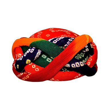 S H A H I T A J Traditional Rajasthani Cotton Bandhej Adjustable Vantma or Barmeri Holi Pagdi Safa or Turban Multi-Colored for Kids and Adults (RT16)-ST94_19andHalf