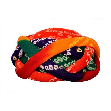 S H A H I T A J Traditional Rajasthani Cotton Bandhej Adjustable Vantma or Barmeri Holi Pagdi Safa or Turban Multi-Colored for Kids and Adults (RT16)-18-3