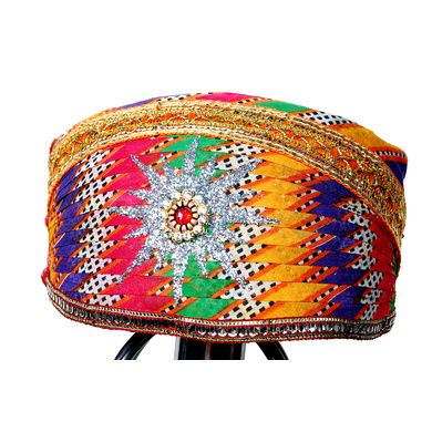 S H A H I T A J Traditional Rajasthani Cotton Mewadi Pagdi or Turban Multi-Colored for Kids and Adults (MT27)-ST105_21andHalf