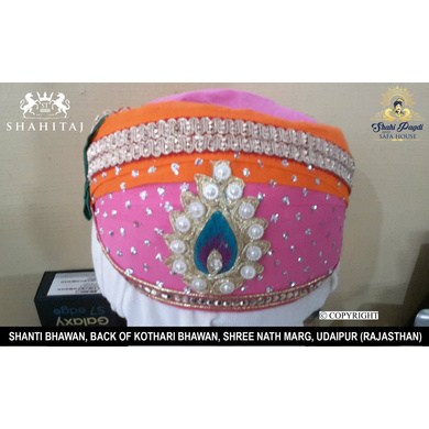 S H A H I T A J Traditional Rajasthani Cotton Mewadi Pagdi or Turban Multi-Colored for Kids and Adults (MT33)-ST111_23andHalf