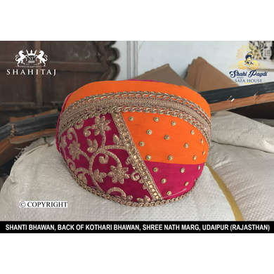 S H A H I T A J Traditional Rajasthani Cotton Mewadi Barati Pagdi or Turban Multi-Colored for Kids and Adults (MT37)-ST115_23andHalf