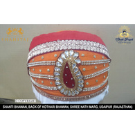 S H A H I T A J Traditional Rajasthani Cotton Mewadi Barati Pagdi or Turban Multi-Colored for Kids and Adults (MT40)
