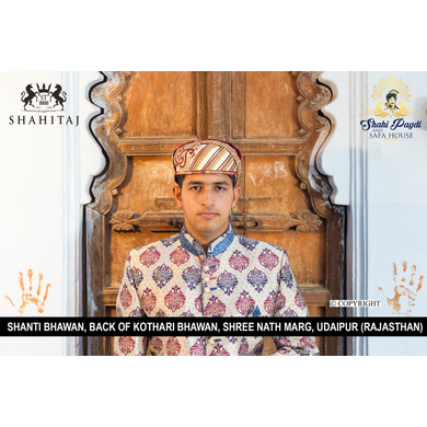 S H A H I T A J Traditional Rajasthani Cotton Mewadi Barati Pagdi or Turban Multi-Colored for Kids and Adults (MT41)-ST119_23andHalf
