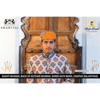 S H A H I T A J Traditional Rajasthani Cotton Mewadi Barati Pagdi or Turban Multi-Colored for Kids and Adults (MT43)-ST121_23andHalf