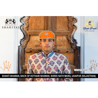 S H A H I T A J Traditional Rajasthani Cotton Mewadi Barati Pagdi or Turban Multi-Colored for Kids and Adults (MT44)