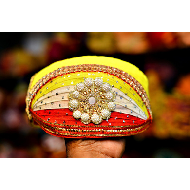 S H A H I T A J Traditional Rajasthani Cotton Mewadi Pagdi or Turban Multi-Colored for Kids and Adults (MT45)-ST123_23andHalf