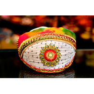 S H A H I T A J Traditional Rajasthani Cotton Mewadi Barati Pagdi or Turban Multi-Colored for Kids and Adults (MT48)