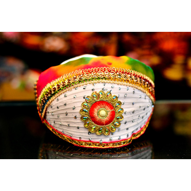S H A H I T A J Traditional Rajasthani Cotton Barati Pagdi or Turban Multi-Colored for Kids and Adults (MT48)-ST126_19andHalf