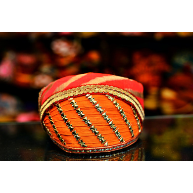 S H A H I T A J Traditional Rajasthani Cotton Mewadi Barati Pagdi or Turban Multi-Colored for Kids and Adults (MT50)-ST128_21andHalf