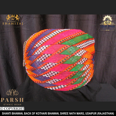 S H A H I T A J Traditional Rajasthani Cotton Mewadi Mothda Pagdi or Turban Multi-Colored for Kids and Adults (MT55)-ST134_19andHalf