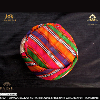 S H A H I T A J Traditional Rajasthani Cotton Mewadi Mothda Pagdi or Turban Multi-Colored for Kids and Adults (MT55)-18-3